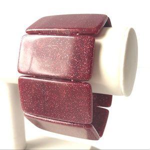 Burgundy Glitter 🌸2/$10 Stretch Bangle
